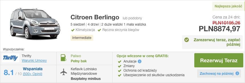 Islandia wypozyczalnia citroen berlingo