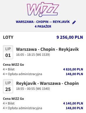 Wizzair Warszawa Reykjavik